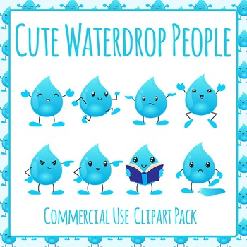 Water Drop Character Clip Art Pack for Commercial Use