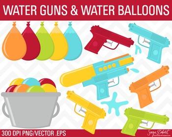 Clip Art: Water Guns and Water Balloons Summer Clip Art