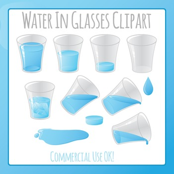 Water or Liquid in Glass Clip Art for Commercial Use
