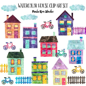 Clipart - Watercolor Houses