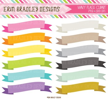 Clipart - Wavy Ribbon Banners