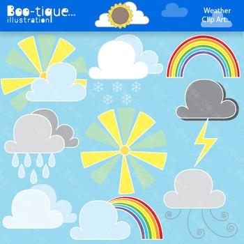 Clipart- Weather Digital Clipart Set. Weather Clip Art. Sun Clipart. Clipart.
