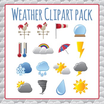 Weather Icons Clip Art Pack for Commercial Use