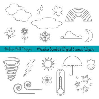 Clipart: Weather Symbols Color Your Own Clip Art