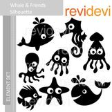 Clipart Whale and Friends Silhouette (sea animals clip art) E024