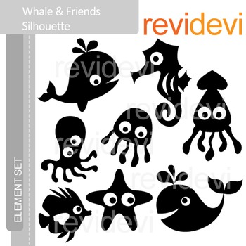 Clipart Whale and Friends Silhouette (sea animals clip art) E024