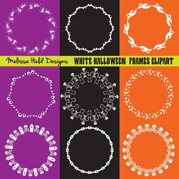 Clipart: White Halloween Circle Frames