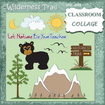 Wilderness Trail Clip Art - color   personal & commercial use bear mountain tree