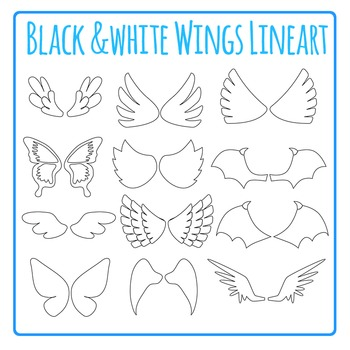 Wings Line Art Clip Art Pack for Commercial Use