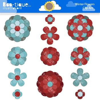 Clipart- Flowers Clip Art. Red Flowers Clipart. Teal Flowe