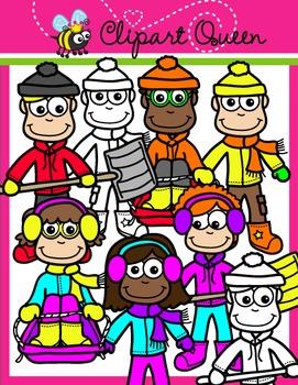 Winter Clipart: Kids 2