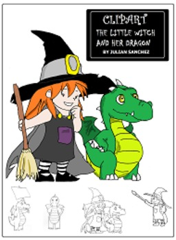 Clipart Witch and Dragon (for personal and commercial use)