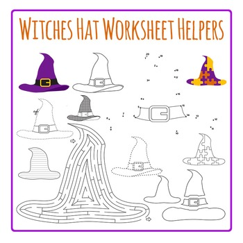 Witches' Hats Worksheet Helpers Clip Art Set for Commercial Use
