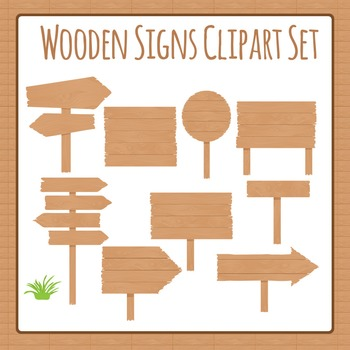 Wooden Signs Clip Art Set for Commercial Use