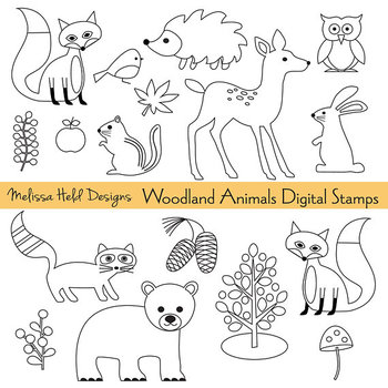 Clipart: Woodland Animals Color Your Own Clip Art