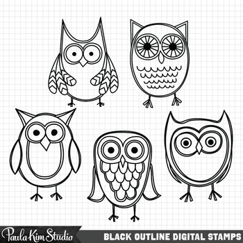 Clipart - Yellow Owls