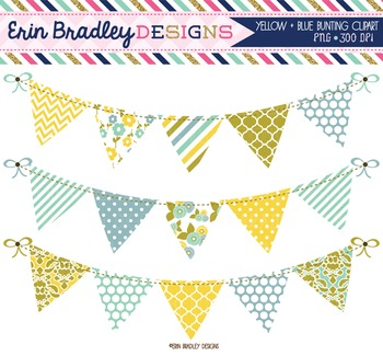 Clipart - Yellow and Blue Bunting Graphics