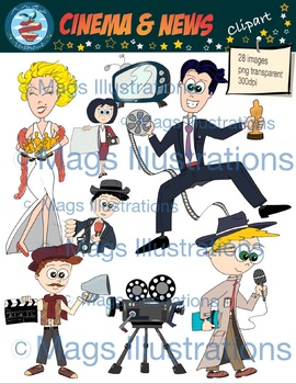 Clipart actor actresss cinema, clipart News, handmade illustrations