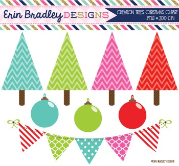 Clipart Chevron Christmas Trees Ornaments and Bunting Digital Graphics