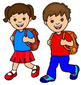 Clipart art of school children and children in the playground.