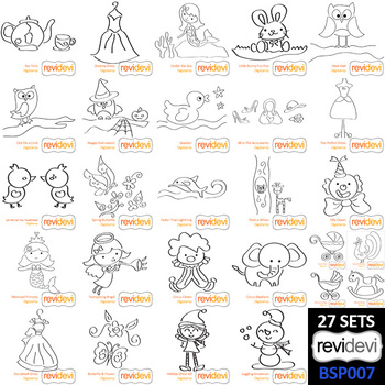 Clipart black and white - bundle collection 2 - clip art for coloring