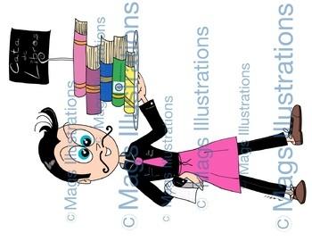 Clipart book tasting, cata de libros, reading project, handmade illustrations