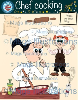 Clipart chef, cooking handmade illustrations