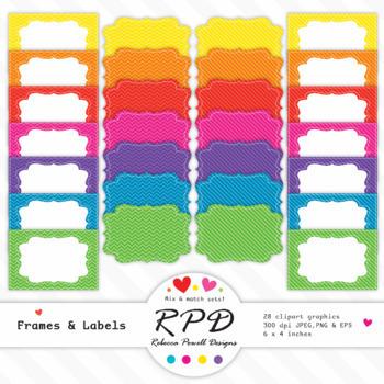 Clipart chevrons & stripes digital text box frames & labels set