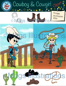 Clipart Illustrations cowboy cowgirl, cactus, hat, boots, horseshoe