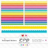 Clipart digital rainbow colours scalloped borders JPEG, PNG & EPS