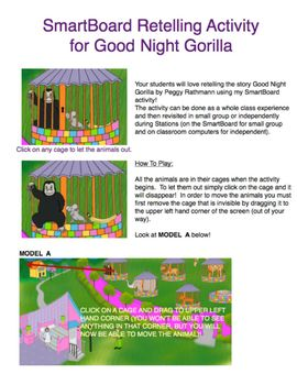 Clipart for Good Night Gorilla & Retelling Activity for Smartboard