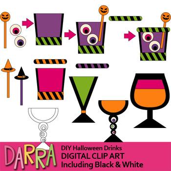 Clipart for Halloween Activities / DIY Halloween Drinks, mix and match clip art