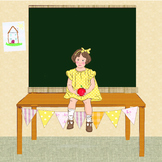 Clipart illustration of girl in classroom