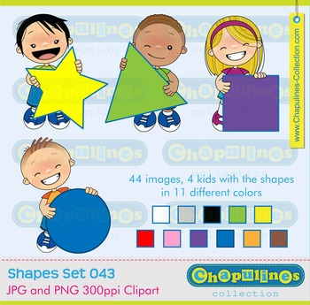 Clipart kids and Geometric Shapes Set 043