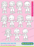 Clipart kids counting numbers with fingers, black and white Set 078