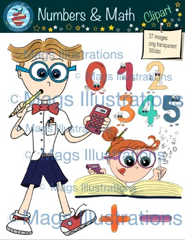 Clipart numbers, handmade math boy girl and numbers, decoration illustrations