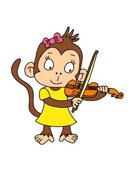 Clipart of 12 Cute Musical Monkeys