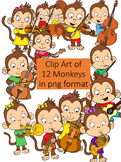 Clipart of 12 Cute Musical Monkeys