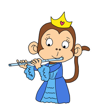 Clipart of 6 Princess Monkeys