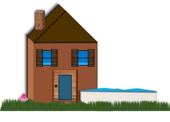 Clipart of Sun, Houses, Grass or yard, and Swimming Pool