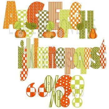 Clipart or Clip Art:  Pumpkin Patch Alphabet