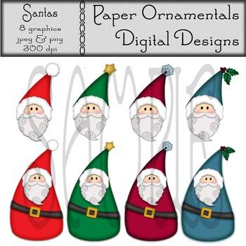 Clip Art or Clipart:  Santa Set 1