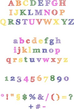 Clipart rainbow letter and numbers - uppercase & lowercase