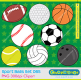 Clipart sport balls, personal and commercial use, PNG set 065