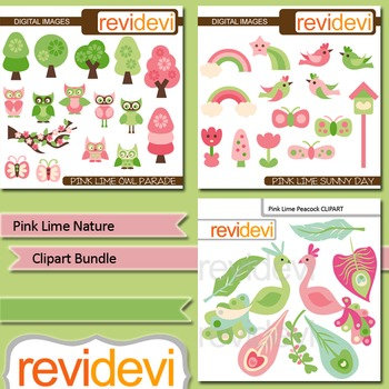 Clipart: tree, bird, owl, peacock - Pink lime nature clip art bundle