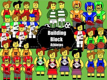 Clipart:Building Block Themed Athletes