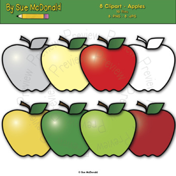 Clipart - Apples - 8 High Quality Vector Graphics