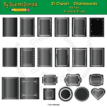 Clipart - Chalkboards - 21 High Quality Vector Graphics
