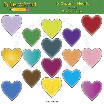 Clipart - Hearts - 16 High Quality Vector Graphics