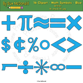 Clipart - Math Symbols - Blue - 16 High Quality Vector Graphics